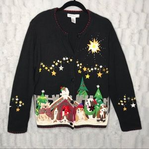 Vintage Dogs Christmas Cardigan Sweater